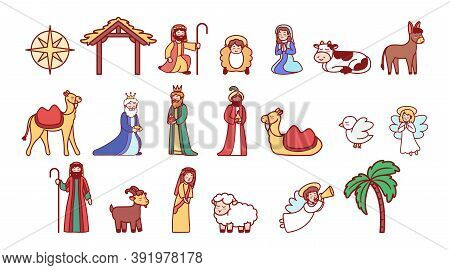 Icons Set Of Nativity Characters. Christmas Icon - Vector
