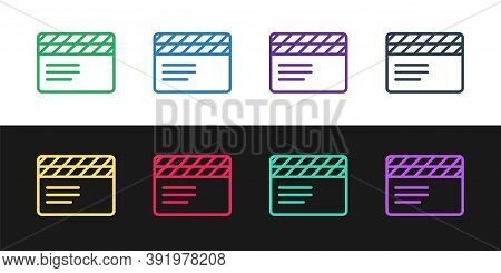 Set Line Movie Clapper Icon Isolated On Black And White Background. Film Clapper Board. Clapperboard