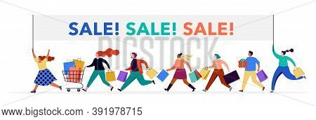 People Carrying Shopping Bags Collection. Happy Men And Women Taking Part In Seasonal Sale At Store,