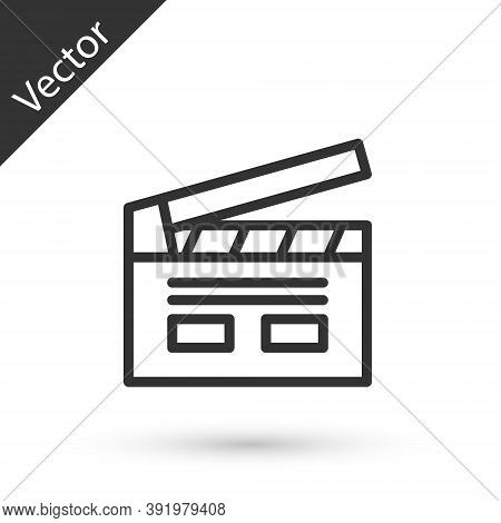 Grey Line Bollywood Indian Cinema Icon Isolated On White Background. Movie Clapper. Film Clapper Boa