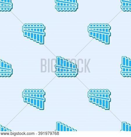 Blue Line Pan Flute Icon Isolated Seamless Pattern On Grey Background. Traditional Peruvian Musical