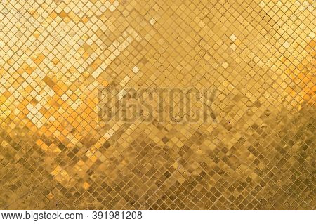 Golden Or Gold Art Grid Square Mosaic Tiles Wall Pattern Surface Texture. Close-up Of Architecture I
