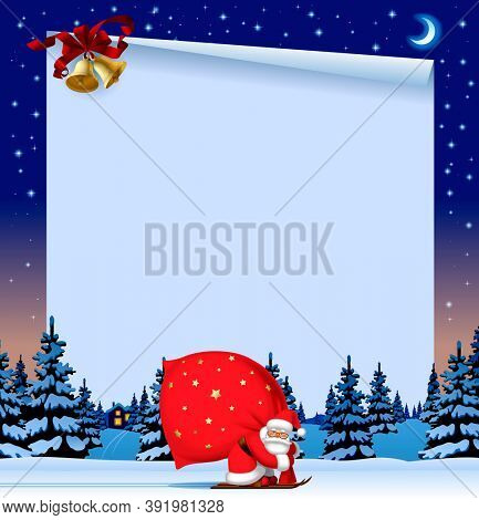 Colorful Christmas and New Year web page and greeting letter template with Santa Claus by ski against the winter spruce forest in snow and gold bells on the  starry sky