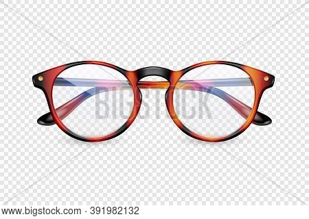 Vector 3d Realistic Plastic Brown Leopard Rimmed Eye Glasses Closeup Isolated On Transparent Backgro