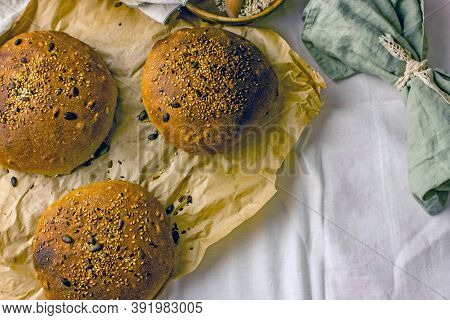 Handmade Natural Yeast-free Sourdough Bread Made From Three Types Of Flour With Sunflower Seeds. Thr