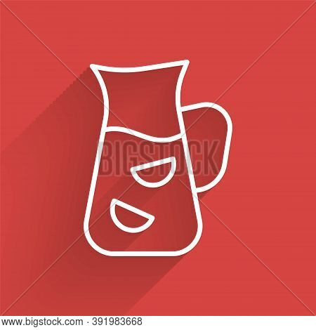 White Line Sangria Icon Isolated With Long Shadow. Traditional Spanish Drink. Vector