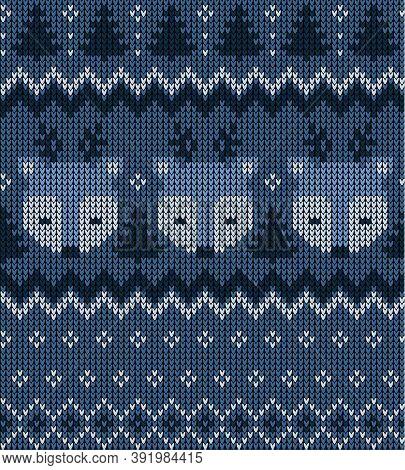 Knitted Christmas And New Year Pattern. Wool Knitting Sweater Design. Wallpaper Wrapping Paper Texti