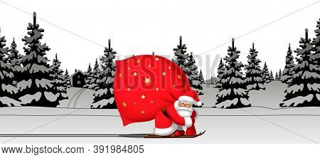 Santa Claus by ski carrying a big red sack against the black and white winter spruce forest in snow. Christmas and New Year mug design and greeting card.