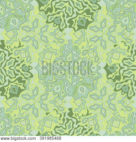 Decorative Floral Seamless Pattern In Bright Summer Positive Colors. Mandala Medallion Fluid Flowers
