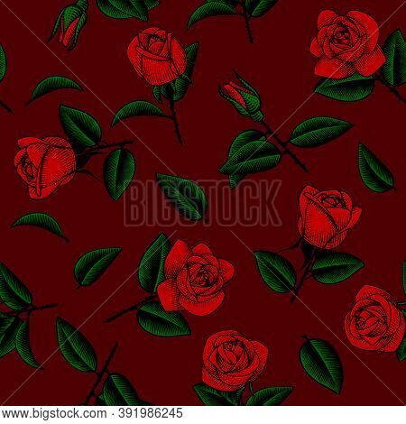 Seamless pattern background with drawn roses. Vintage color engraving stylized drawing