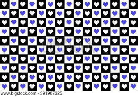 Blue Black White Purple Checkered Background With Hearts. Checkered Texture. Space For Graphic Desig