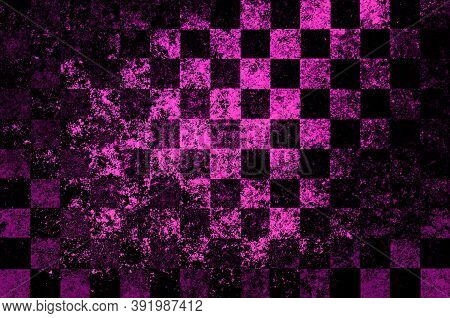Bright Pink Black Magenta Checkered Background With Blur, Gradient And Grunge Texture. Space For Gra