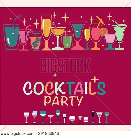 Flat Icons Set Of Popular Alcohol Cocktail Created For Menu Designs. Set Of Alcoholic Drinks Like Mo