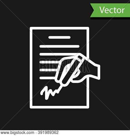 White Line Petition Icon Isolated On Black Background. Vector
