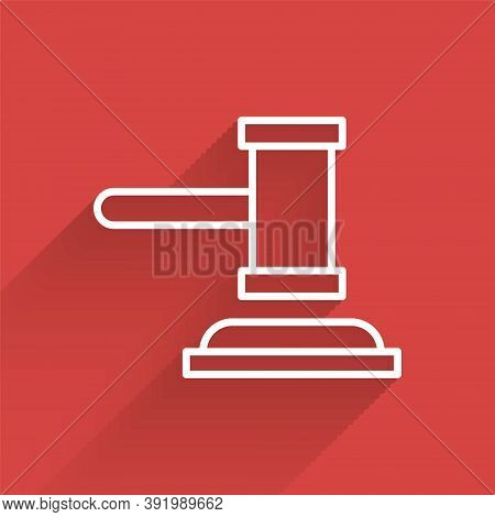 White Line Judge Gavel Icon Isolated With Long Shadow. Gavel For Adjudication Of Sentences And Bills