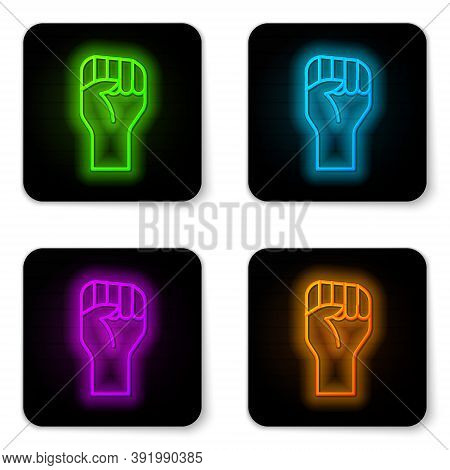 Glowing Neon Line Raised Hand With Clenched Fist Icon Isolated On White Background. Protester Raised