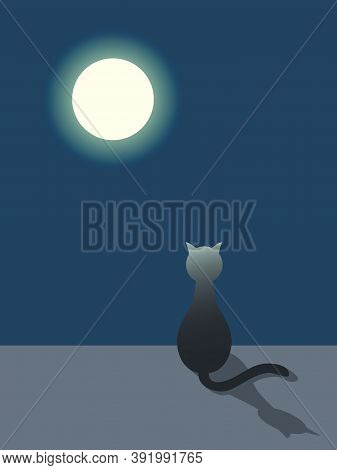 Flat Vector Illustration Of A Sitting Cat That Looks At The Moon At Night. It Can Be Used As A Backg