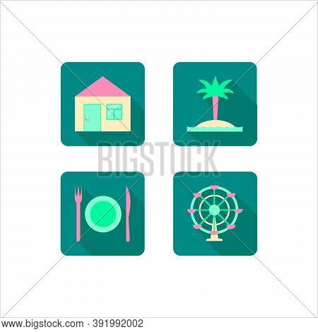 Vector Illustration Of Four Sea Resort Flat Icons That Depict Accommodation, Beach, Meals And Entert