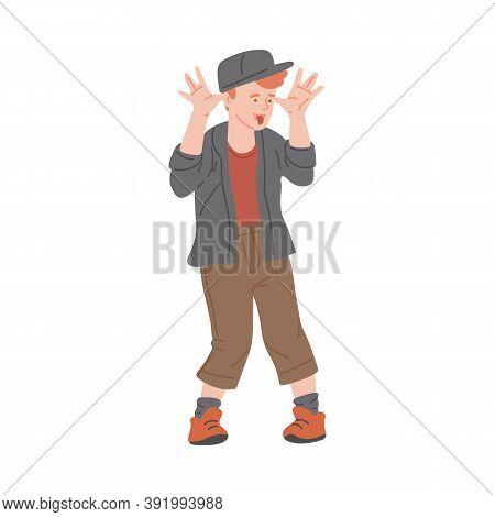 Bully Boy Teasing Other Children, Flat Cartoon Vector Illustration Isolated