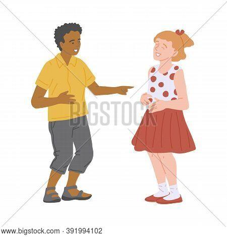 Boy Making Girl Laugh Behaving Cute, Flat Cartoon Vector Illustration Isolated