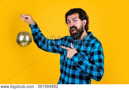 Super Cool Disco Club Bearded Man With Discoball, Celebrating Holiday