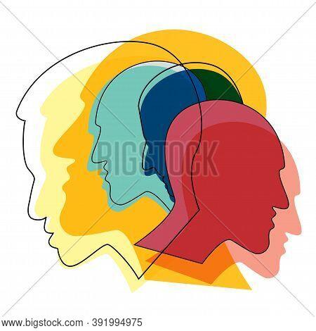 People Prophile Heads. Schizophrenia Concept, Symbol Of Depresion, Dementia. Vector Ilustration.