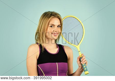 Squash Game. Woman Athlete Play Tennis Court. Scoring System. Racquet Sports. Tennis Club. Smiling A