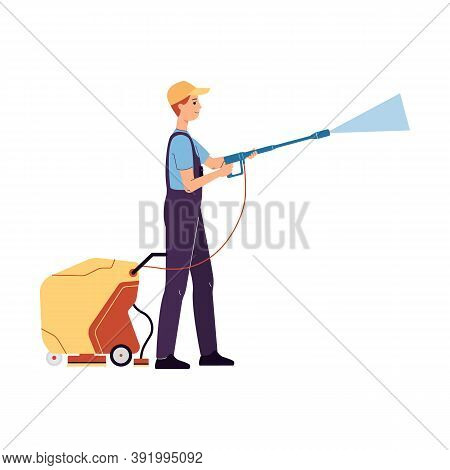 Car Service Worker Washes A Car With Machine, Flat Vector Illustration Isolated.