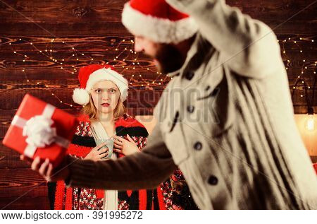 Guess Her Desire. Winter Surprise. Man Giving Gift Box. Christmas Surprise Concept. Giving And Shari