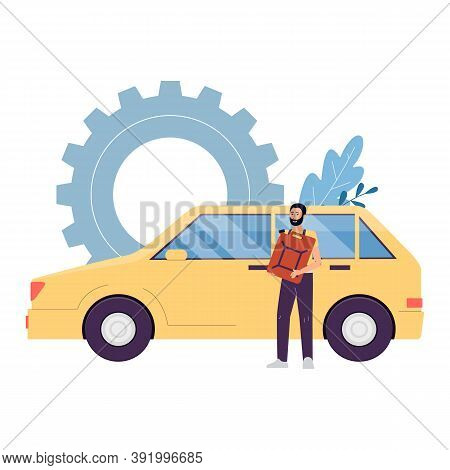 Technician Or Auto Mechanic Repairing A Car Flat Vector Illustration Isolated.