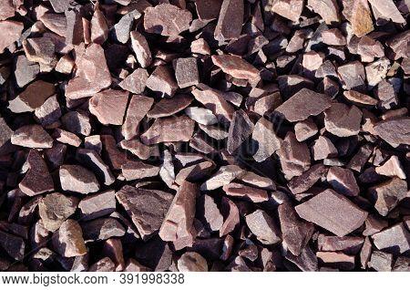 Breakstone Background. Road Gravel. Gravel Texture. Crushed Gravel Background. Piles Of Limestone Ro