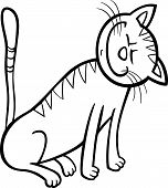 Cartoon Illustration of Happy Tabby Cat for Coloring Book poster