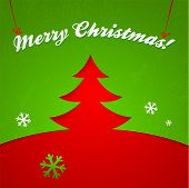 Red and green Christmas tree vector applique with sign poster