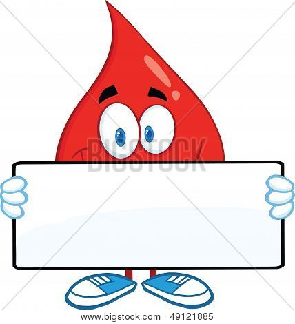 Red Blood Drop Cartoon Character Holding A Banner