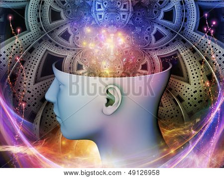 Abstract composition of human head and symbolic elements suitable as element in projects related to human mind consciousness imagination science and creativity poster