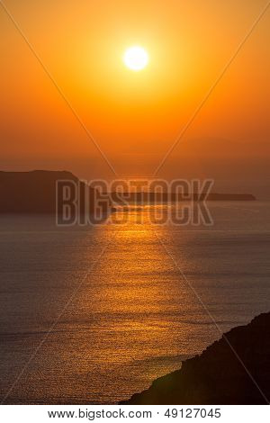 Beautiful Sunset At The Beach Of Santorini In Greece