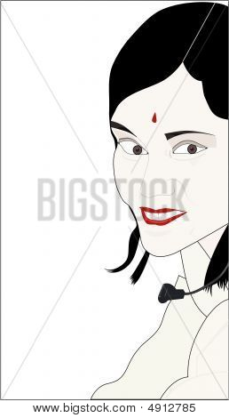 Vector image of a woman customer service representative of India. poster