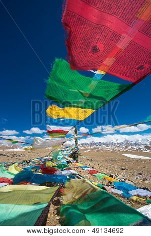 Prayer Flags And The Range Of Himalaya Mountains In In The Background