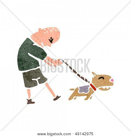 retro cartoon man with dog on lead poster