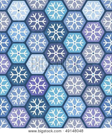 Seamless geometric pattern with snowflakes.