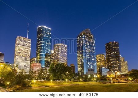 View On Downtown Houston By Night