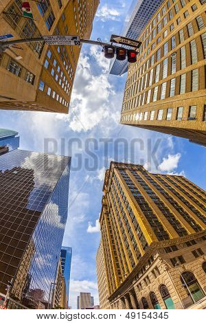 View To Historic And Modern Skyscraper In Downtown Houston