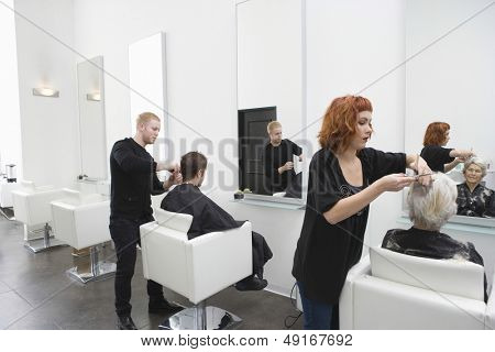 poster of Hairdressers giving haircut to customers in unisex salon
