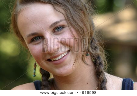 Pretty Teen Girl With Braids