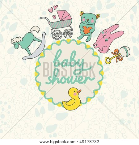 Baby shower card design in vector. Cartoon childish elements in stylish colors. Baby background in cartoon style with toys, horse, bear, rattler, rabbit and duck.