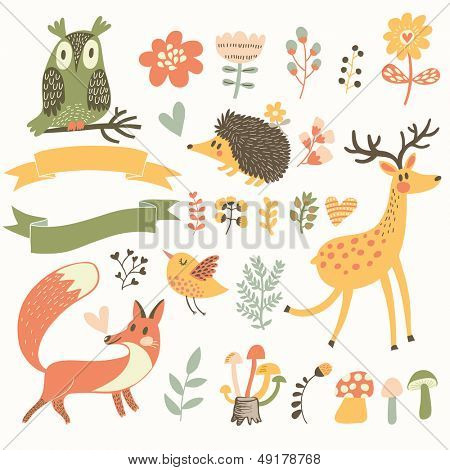 North forest set in vector. Deer, hedgehog, owl, bird and fox in cartoon style. Ribbons with place for your text.
