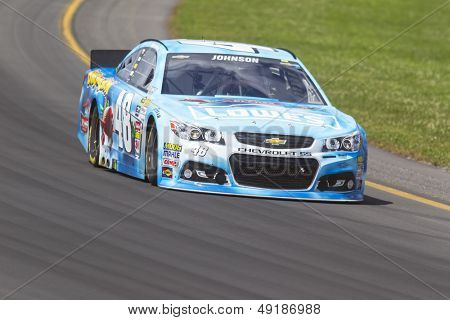 LOMG POND, PA - AUG 04, 2013:  Jimmie Johnson (48) takes to the track for the GoBowling.com 400 race at the Pocono Raceway in Long Pond, PA on Aug 4, 2013.