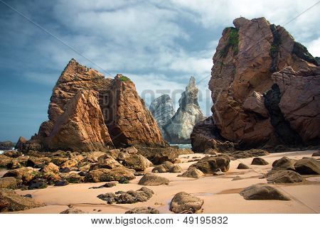 Rocky landscape of Ursa Beach in Portugal