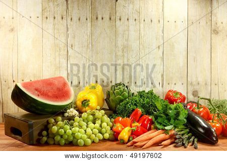 Bunch of Grocery Produce Items on a Wooden Plank
