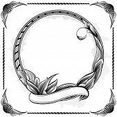 Vector illustration of ornamental circle frame with corner poster